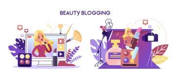 Sk?nhetbloggerbegrepp Kvinnligt tecken som gör makeup stock illustrationer