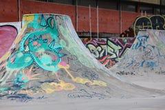 Sk8 ramp. Ramp in a sk8 park in Caldas da Rainha - Portugal with great graffiti Royalty Free Stock Image