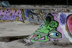 Sk8 ramp. Ramp in a sk8 park in Caldas da Rainha - Portugal with great graffiti Stock Images