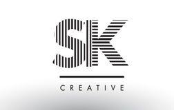 SK S K Black and White Lines Letter Logo Design. SK S K Black and White Letter Logo Design with Vertical and Horizontal Lines stock illustration