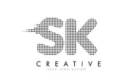 SK S K Letter Logo with Black Dots and Trails. Royalty Free Stock Image