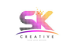 SK S K Letter Logo Design with Magenta Dots and Swoosh Royalty Free Stock Image