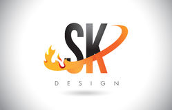 SK S K Letter Logo with Fire Flames Design and Orange Swoosh. SK S K Letter Logo Design with Fire Flames and Orange Swoosh Vector Illustration Royalty Free Stock Photography