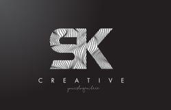 SK S K Letter Logo with Zebra Lines Texture Design Vector. SK S K Letter Logo with Zebra Lines Texture Design Vector Illustration royalty free illustration
