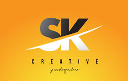 SK S K Letter Modern Logo Design with Yellow Background and Swoo. SK S K Letter Modern Logo Design with Swoosh Cutting the Middle Letters and Yellow Background Royalty Free Stock Photo