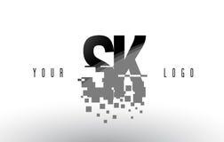SK S K Pixel Letter Logo with Digital Shattered Black Squares. Creative Letters Vector Illustration royalty free illustration