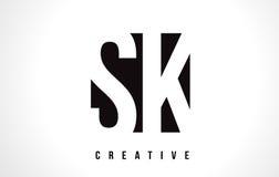 SK S K White Letter Logo Design with Black Square. SK S K White Letter Logo Design with Black Square Vector Illustration Template stock illustration