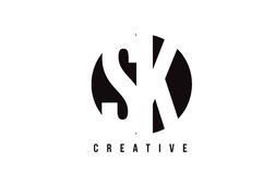 SK S K White Letter Logo Design with Circle Background. Royalty Free Stock Photography