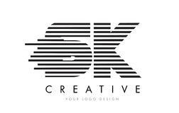 SK S K Zebra Letter Logo Design with Black and White Stripes. Vector vector illustration