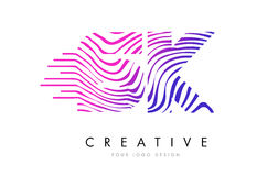 SK S K Zebra Lines Letter Logo Design with Magenta Colors. SK S K Zebra Letter Logo Design with Black and White Stripes Vector royalty free illustration