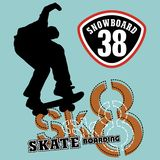 Sk8. Vector illustration for children clothes Stock Photos