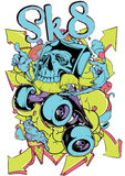 Sk8. Vector illustration ideal for printing on apparel clothing Stock Photos