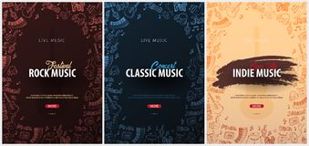 Skała, klasyk, Indie festiwal muzyki Na wolnym powietrzu Set ulotka projekta szablon z remisu doodle na tle ilustracja wektor