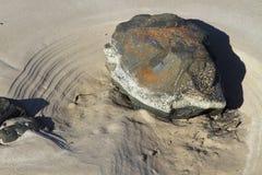 Skała na plaży przy niskim przypływem z wodnymi przypływ ocenami fotografia stock