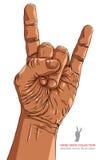 Skała na ręka znaku, rockowa n rolka, hard rock, ciężki metal, muzyka, d ilustracja wektor