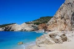 Skała przy Porto Katsiki plażą na Lefkada wyspie fotografia royalty free