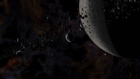 Skały i lód cząsteczki orbituje wokoło nieżywej planety ilustracji
