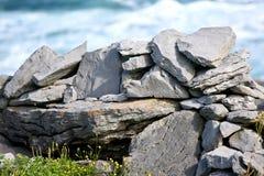 Skały i roślinność na Doolin plaży, okręg administracyjny Clare, Irlandia obrazy royalty free