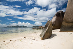 Skały na Seychelles wyspy plaży w oceanie indyjskim Zdjęcie Royalty Free