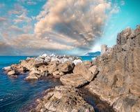 Skały Pięć ziemi, Włochy zdjęcia royalty free