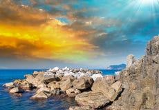 Skały Pięć ziemi, Włochy Obraz Stock
