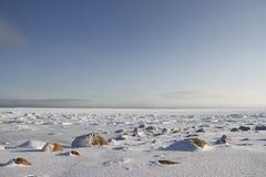 Skały w śniegu pod niebieskim niebem w arktycznym, północ Arviat Fotografia Stock