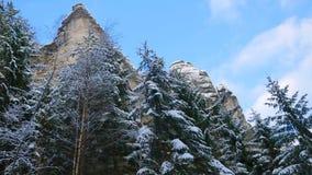 Skały w sławnym skalistym mieście Adrspach-Teplice kołysają Zima Zdjęcie Royalty Free
