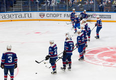 SKA dream team. RUSSIA, MOSCOW - APRIL 27, 2015: Unidentified players of SKA team just before game CSKA vs SKA teams on Hockey Cup of Legends in Ice Palace VTB Stock Photography