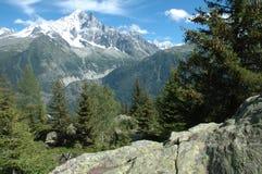 Skała, drzewa i szczyty, niedaleki Chamonix w Alps w Francja Zdjęcia Royalty Free