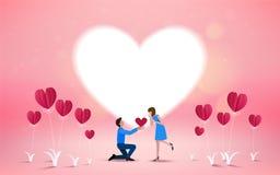 Ska du att gifta sig mig den inbjudankortvektorn/illustratören Förälskelseconce stock illustrationer