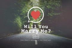 Ska du att gifta sig mig det Valentine Romance Love Heart Dating begreppet Fotografering för Bildbyråer