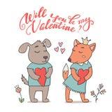 Ska du vara mitt valentinkort med hunden och räven Arkivfoto