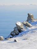 Skała i morze w zimie Zdjęcie Royalty Free
