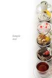 Söka menyn av restaurang-tea, tårtan, efterrätt Fotografering för Bildbyråer