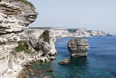 Skały, denny widok w Bastia w Corsica wyspie Fotografia Royalty Free