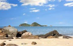 Skała z widokiem dwoistej wyspy Zdjęcie Stock
