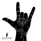 Skała na ręka znaku, rockowa n rolka, hard rock, ciężki metal, muzyka, d Obrazy Royalty Free