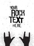 Skała wręcza sylwetki na koncercie, grunge szablon dla twój teksta Obrazy Royalty Free