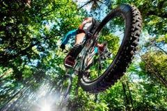 Skacze i lata na rowerze górskim nad kamera Obrazy Stock