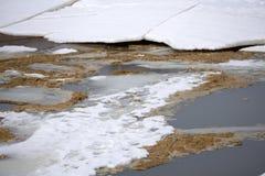 Skacze rzeka otwiera od lodu obrazy stock
