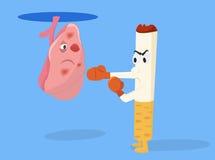 Skada av att röka den begreppsmässiga illustrationen för cigaretter Cigaretten med boxninghandskar sparkar lungan Royaltyfri Fotografi