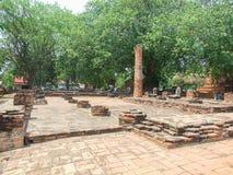 Skada av templet på Ayutthaya royaltyfria bilder