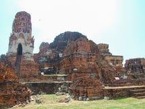 Skada av templet på Ayutthaya arkivbild