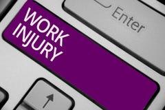 Skada för arbete för textteckenvisning Den begreppsmässiga fotoolyckan i lilor för tangentbord för trauma för men för villkor för arkivfoton