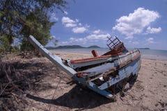 skada fallna skogstormtrees Fiskebåten skadas Fartyget kollapsade royaltyfria bilder