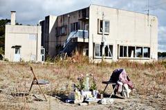Skada från den Tohoku jordskalvet och tsunamin Arkivfoton
