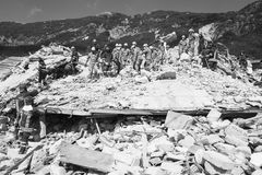 Skada från jordskalvet, Pescara del Tronto Royaltyfri Fotografi