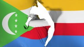 Skadad Comoros flagga royaltyfri illustrationer