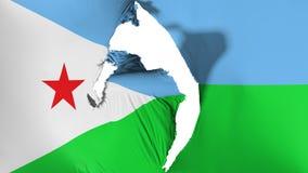 Skadad Djibouti flagga royaltyfri illustrationer