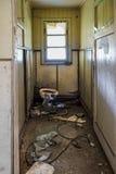 Skadad gammal toalett Arkivbild